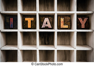 Italy Concept Wooden Letterpress Type in Draw