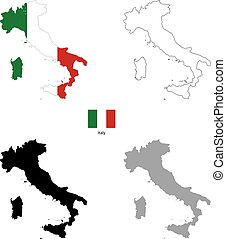 Italy country black silhouette and with flag on background