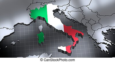 Italy - country borders and flag - 3D illustration
