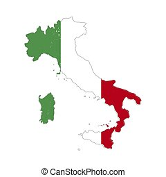 Italy country silhouette with flag on background, isolated...