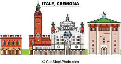 Italy, Cremona. City skyline, architecture, buildings, streets, silhouette, landscape, panorama, landmarks. Editable strokes. Flat design line vector illustration concept. Isolated icons