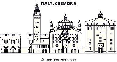 Italy, Cremona line skyline vector illustration. Italy,...