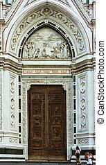italy., croce, santa, 教会, 門, florence.