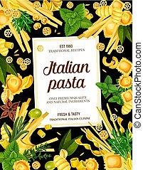 Italy cuisine food pasta and greens menu - Italian pasta...