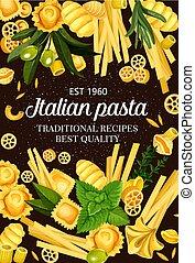 Italy cuisine food pasta and greens spaghetti menu - Italian...