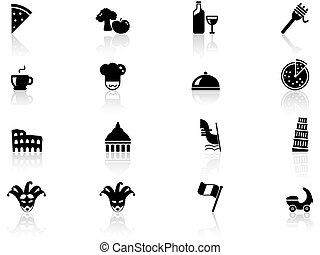 Italy culture icons set