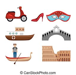 italy culture set icons