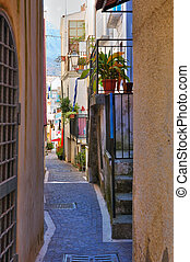 italy., diamante., calabria., alleyway.