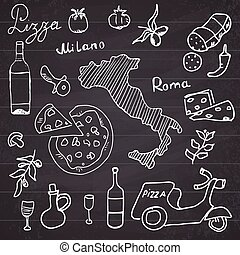 Italy doodles elements. Hand drawn
