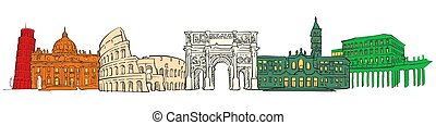 Italy famous travel icons banner