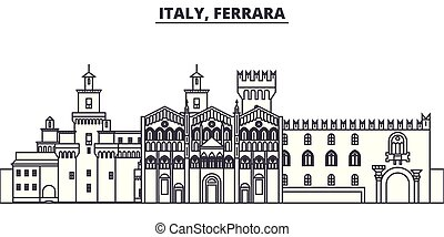 Italy, Ferrara line skyline vector illustration. Italy,...