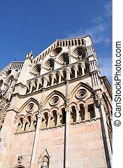 Italy - Ferrara - Italy - Romanesque facade of famous...