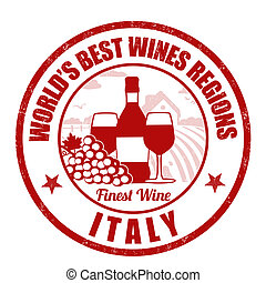 Italy, finest wine grunge rubber stamp on white background,...
