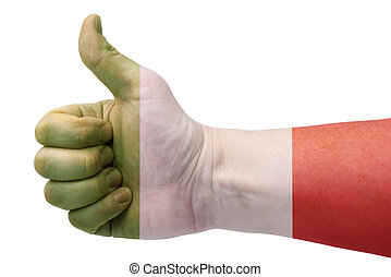 Italy flag and hand with thumb up.