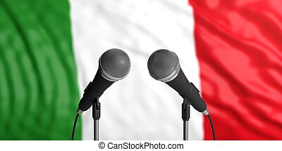 Italy flag background with two microphones in front of it. Close up view. 3d illustration