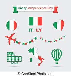 Italy flag, banner and icon patterns set illustration