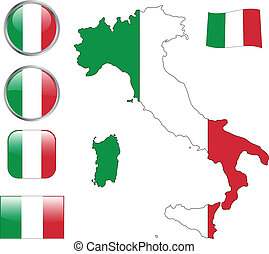 Italy flag buttons - vector