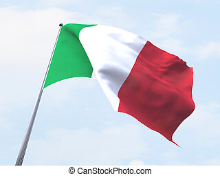 Italy flag flying on clear sky.