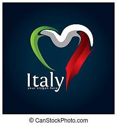 Italy flag Heart stock vector. Vector illustration on blue gradient background.