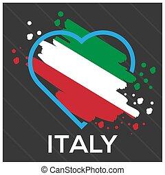 Italy flag Heart stock vector. Vector illustration on gray background.