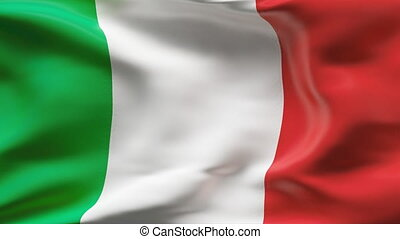 ITALY flag in slow motion - Creased cotton flag with visible...