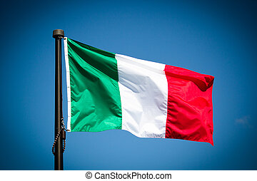 Italy Flag - Italian Flag blowing in the wind.