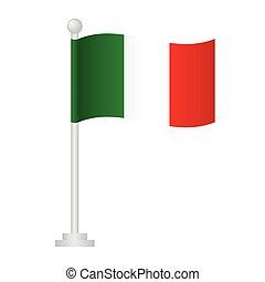 Italy flag. National flag of Italy on pole vector