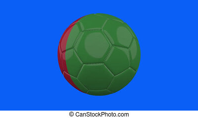 Italy flag on ball rotates on transparent blue alpha background, loop