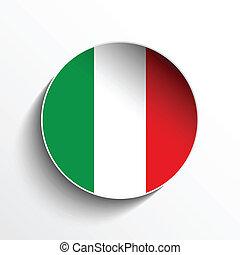 Vector - Flag Paper Circle Shadow Button Italy