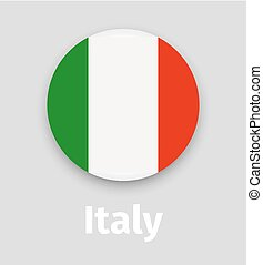 Italy flag, round icon with shadow