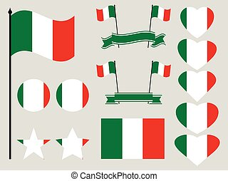 Italy flag set. Collection of symbols heart and circle. Vector illustration