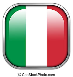Italy Flag square glossy button