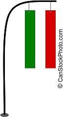 Italy flag vector on pole