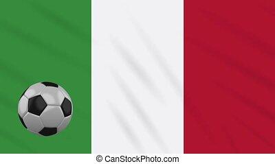 Italy flag waving and football rotates, loop