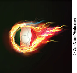 Italy flag with flying soccer ball on fire isolated black background, vector illustration