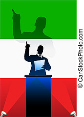 Italy flag with political speaker behind a podium