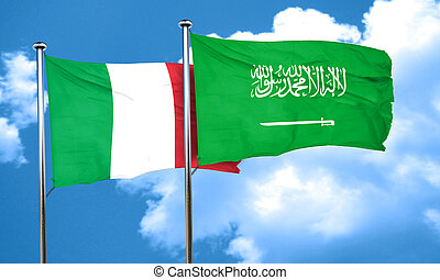 Italy flag with Saudi Arabia flag, 3D rendering