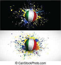 Italy flag with soccer ball dash on colorful background, vector