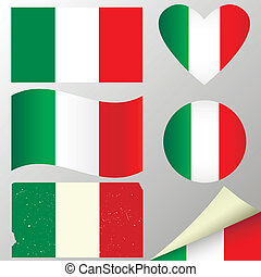 Italy flags set. Vector illustration.