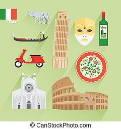 Italy flat icons