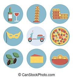 Italy flat icons set