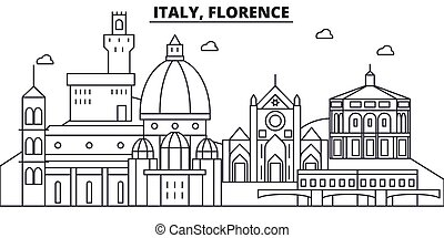 Italy, Florence architecture line skyline illustration. Linear vector cityscape with famous landmarks, city sights, design icons. Landscape wtih editable strokes