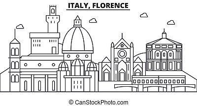 Italy, Florence architecture line skyline illustration....