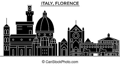 Italy, Florence architecture vector city skyline, travel...