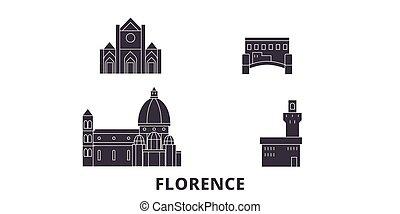 Italy, Florence City flat travel skyline set. Italy, Florence City black city vector panorama, illustration, travel sights, landmarks, streets.