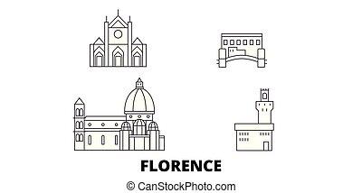 Italy, Florence City line travel skyline set. Italy,...