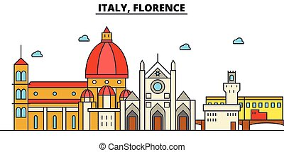 Italy, Florence. City skyline architecture, buildings, streets, silhouette, landscape, panorama, landmarks. Editable strokes. Flat design line vector illustration concept. Isolated icons set