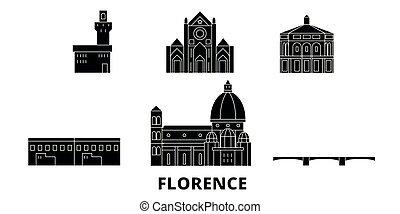 Italy, Florence flat travel skyline set. Italy, Florence...