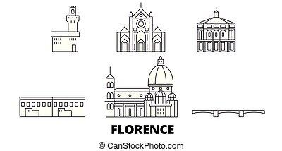 Italy, Florence line travel skyline set. Italy, Florence...