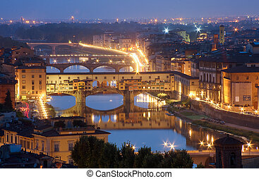 Italy, Florence, Tuscany, night view